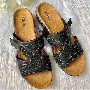 Clark's   Black Slip on Sandals NWOB